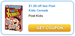 $  1.00 off 2 Post Kids Cereals