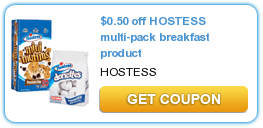 $  0.50 off HOSTESS multi-pack breakfast product